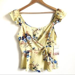 Lily White Yellow floral Ruffle Sleeve Wrap w/ Tie